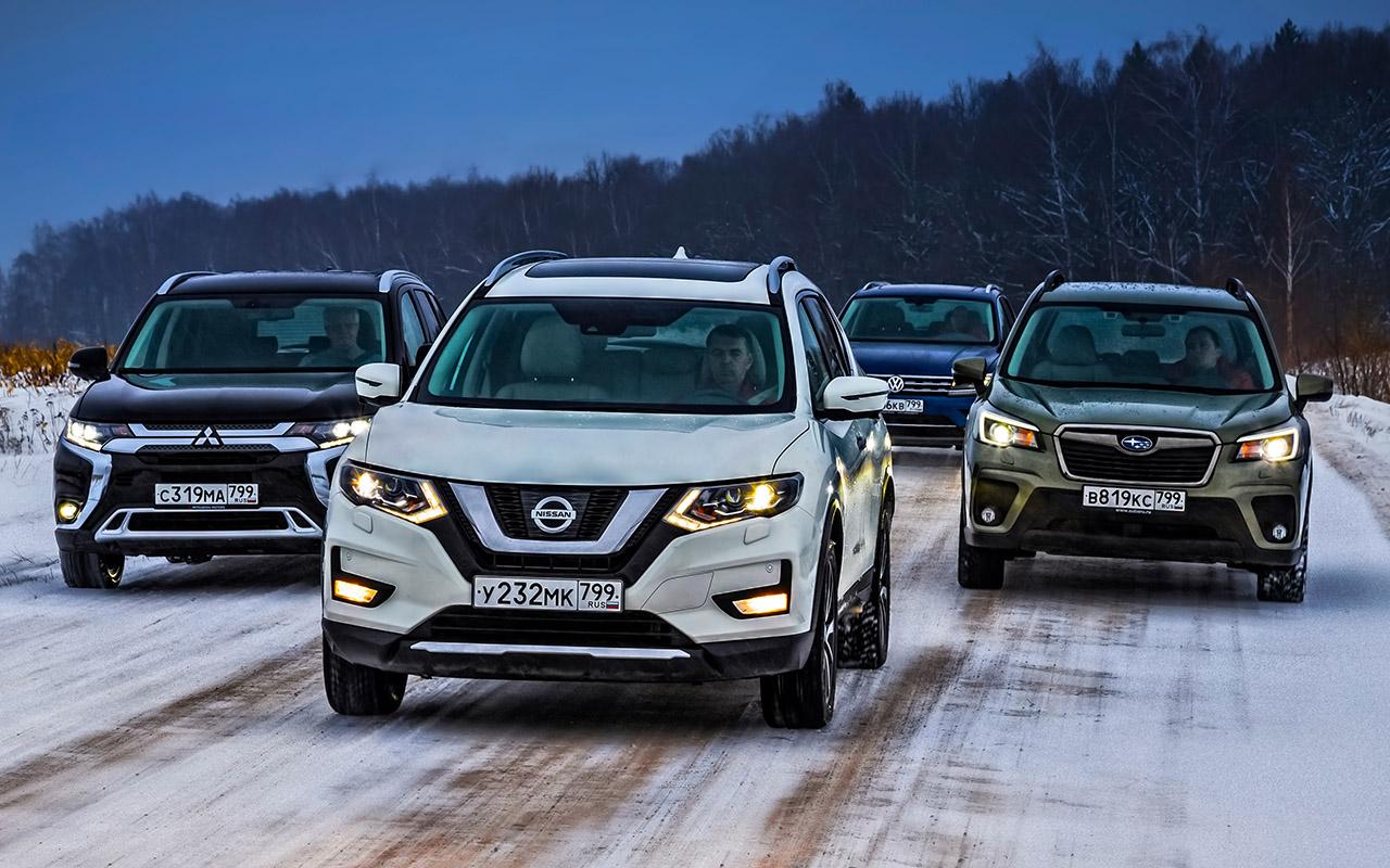 Mitsubishi Outlander, Nissan X-Trail, Subaru Forester, VW Tiguan — тест-драйв